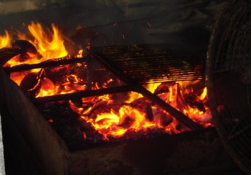coconut BBQ fire